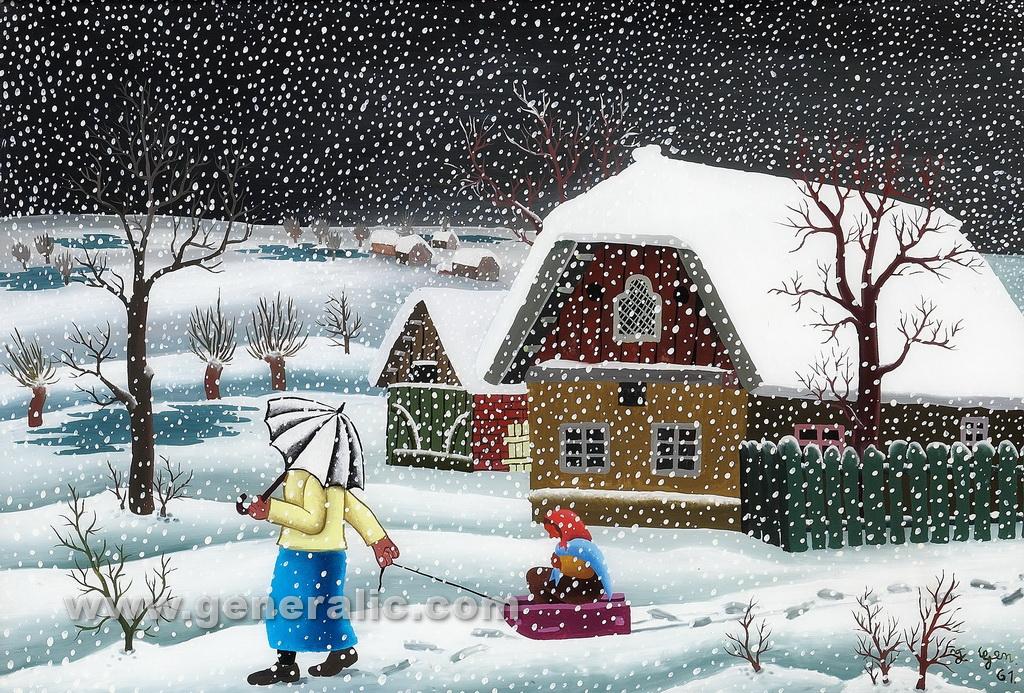 Josip Generalic, 1961, Snowing in village, oil on glass