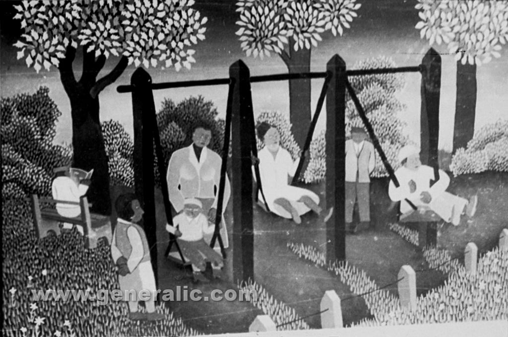 Josip Generalic, 1961, Swinging in the park, oil on canvas
