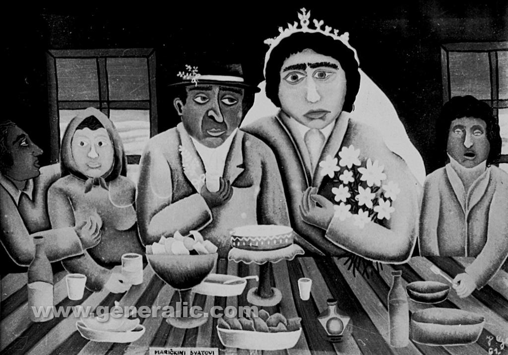 Josip Generalic, 1961, Wedding of Maricka, oil on glass