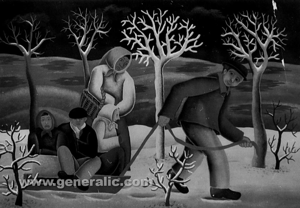 Josip Generalic, 1961, Winter, oil on glass