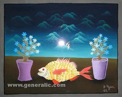 Josip Generalic, 1961, Yellow fish with flowers, oil on glass