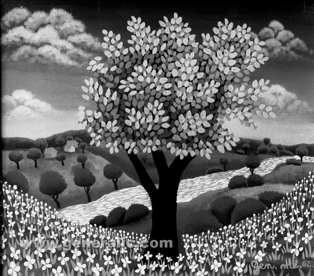 Josip Generalic, 1962, A tree, oil on glass