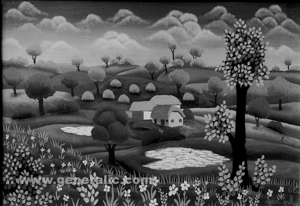 Josip Generalic, 1962, Landscape, oil on canvas