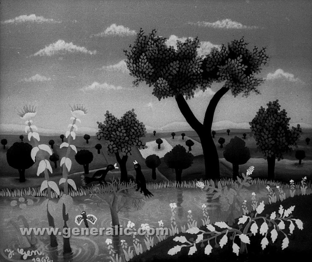 Josip Generalic, 1962, Landscape with pond, oil on glass