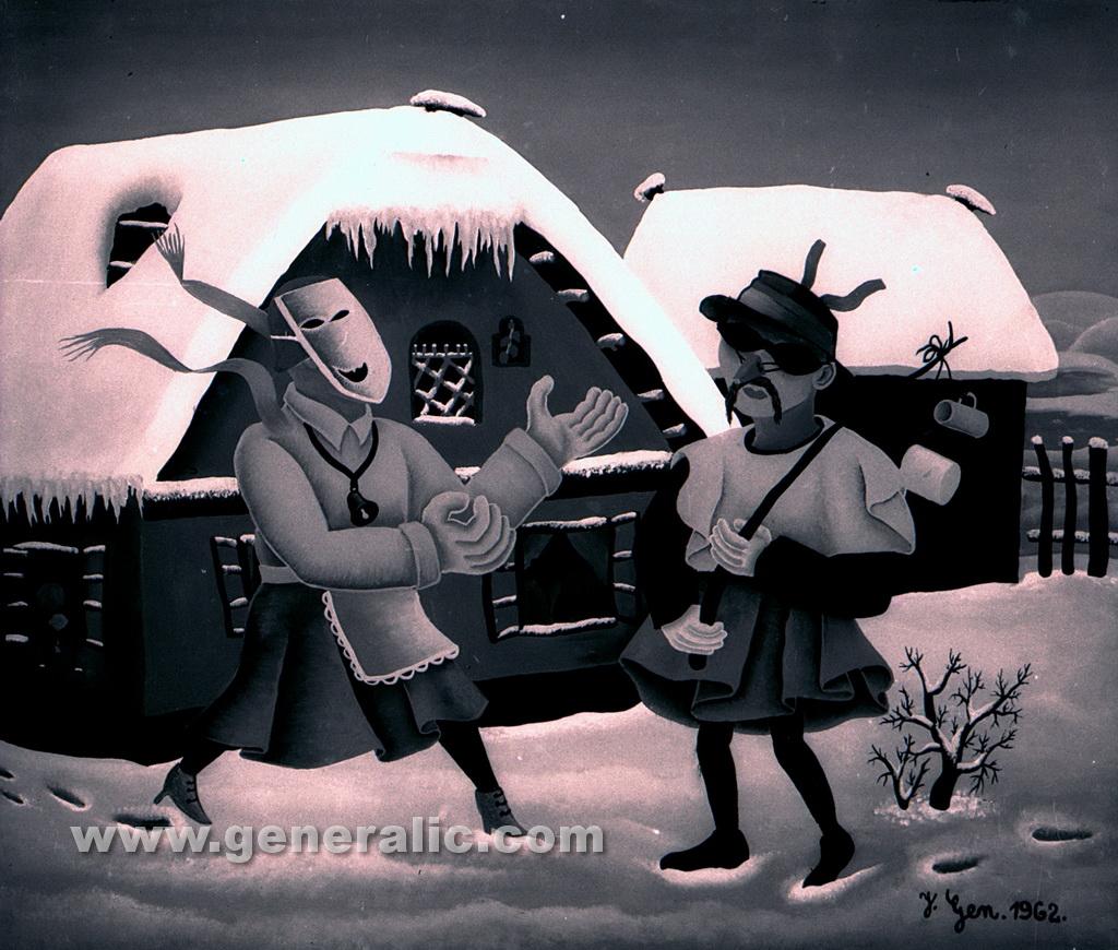 Josip Generalic, 1962, Winter masquerade, oil on glass