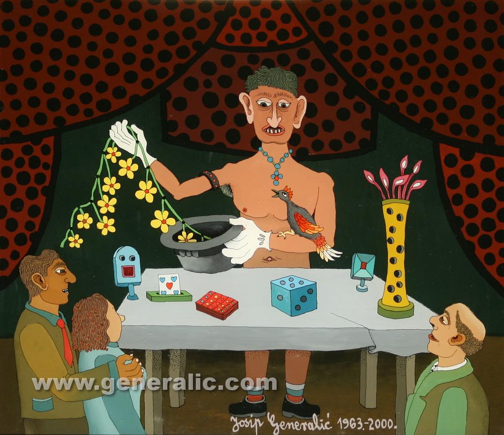 Josip Generalic, 1963-2000, The magician, oil on glass, 35x40 cm