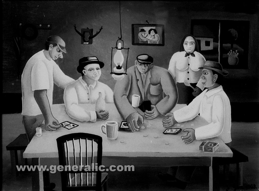 Josip Generalic, 1963, Card game, oil on glass