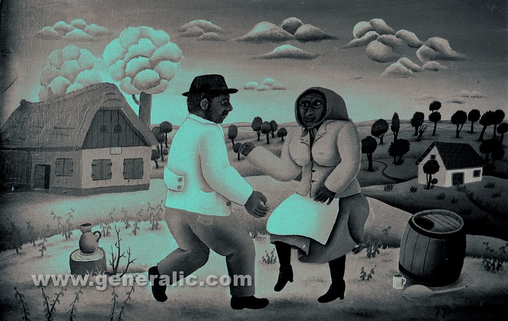 Josip Generalic, 1963, Dancing in the village, oil on canvas