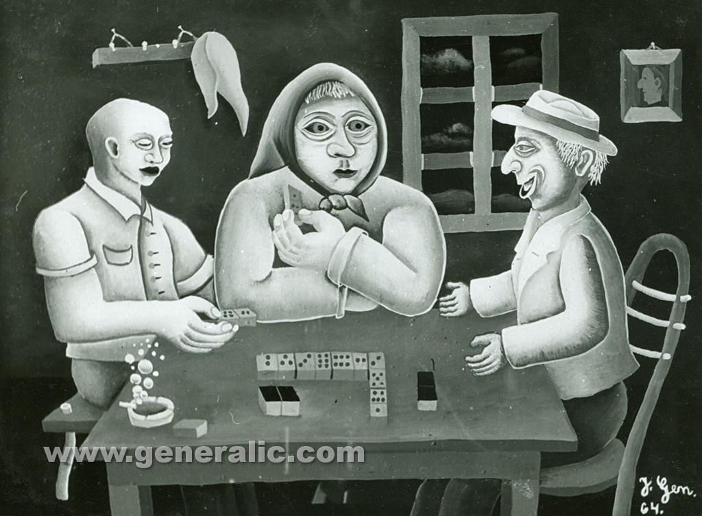 Josip Generalic, 1964, Playing dominoes, oil on canvas