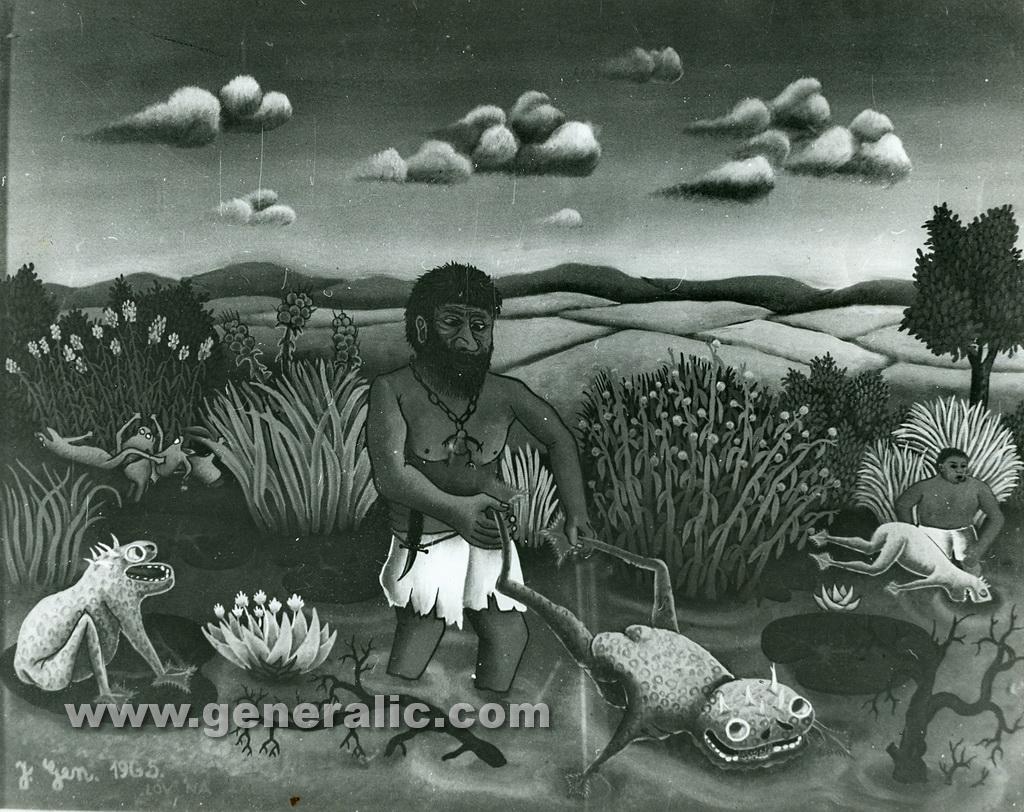 Josip Generalic, 1965, Frog hunt, oil on glass