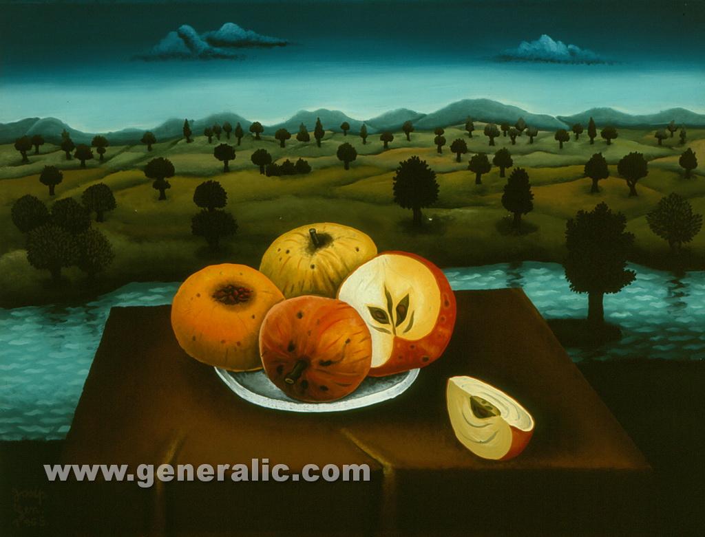 Josip Generalic, 1965, Still life with apples, oil on glass, 30x40 cm