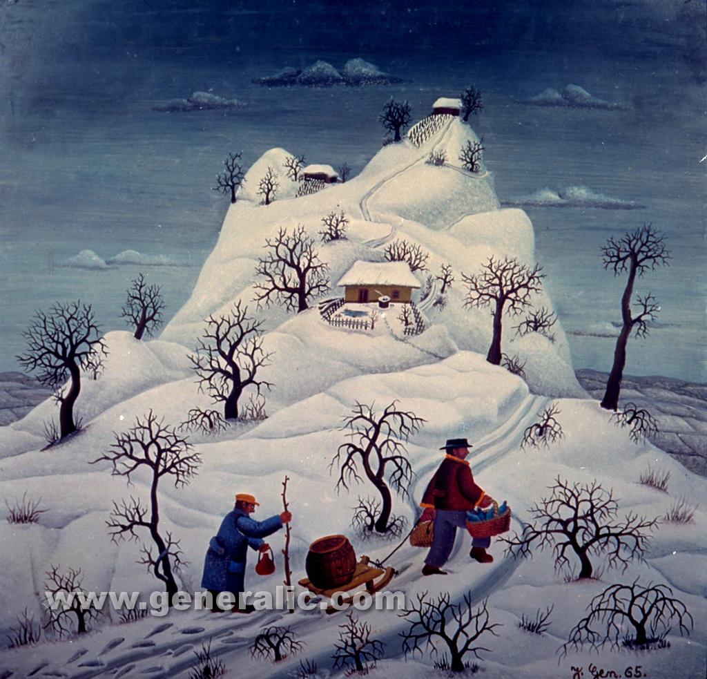 Josip Generalic, 1965, Winter hill, oil on glass
