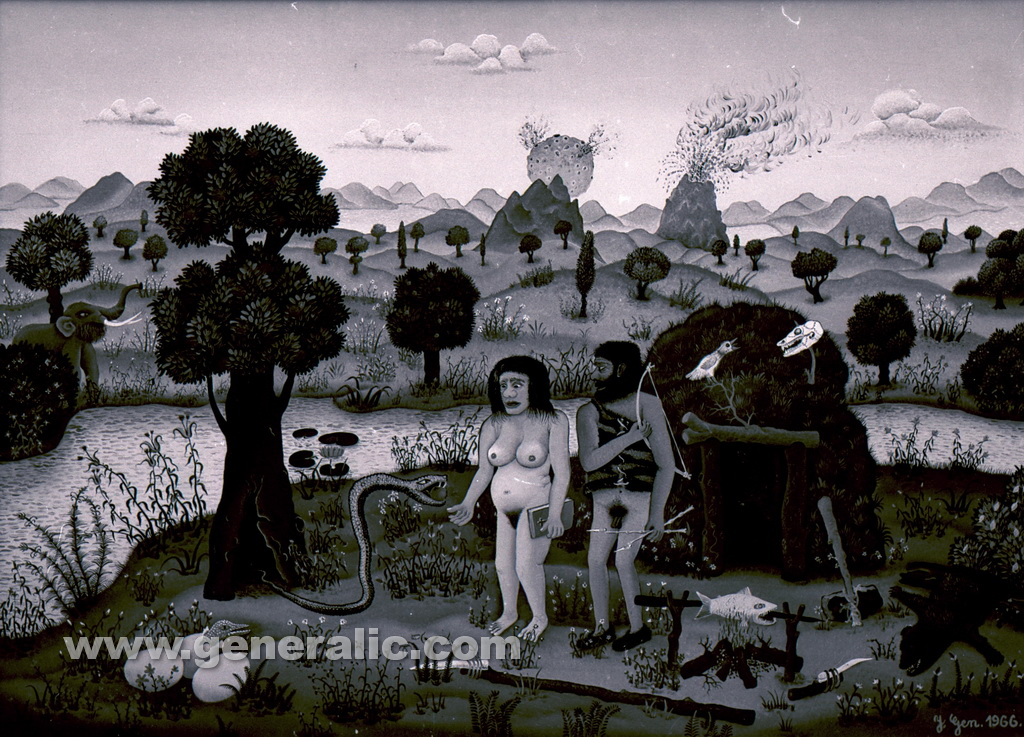 Josip Generalic, 1966, Adam and Eve, oil on canvas