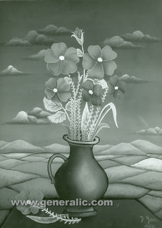 Josip Generalic, 1966, Flowers in a pot, oil on canvas