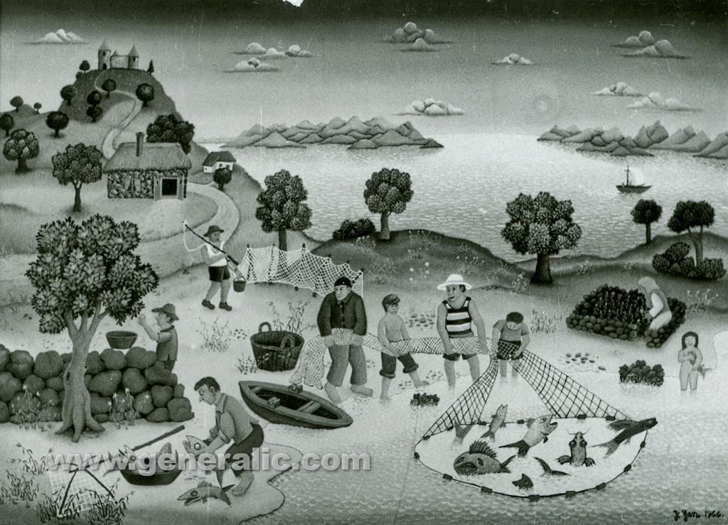 Josip Generalic, 1966, Group fishing, oil on canvas