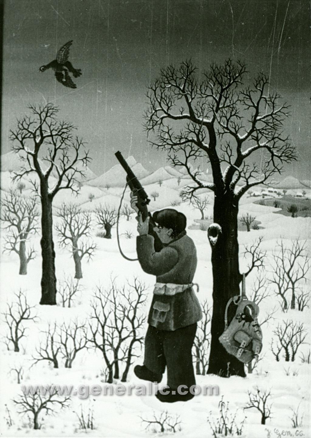 Josip Generalic, 1966, Hunter, oil on glass