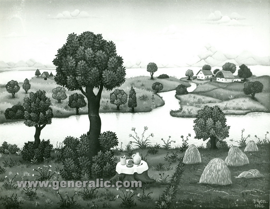 Josip Generalic, 1966, Landscape with picnic food, oil on canvas