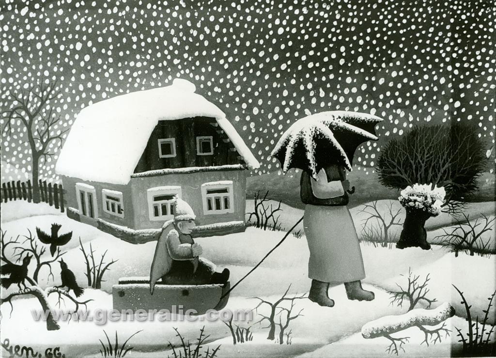 Josip Generalic, 1966, Snowing, oil on canvas