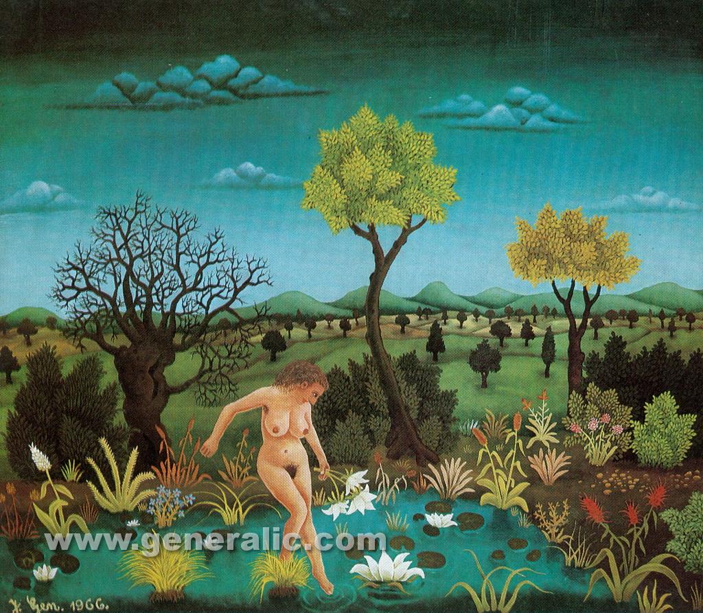 Josip Generalic, 1966, Swimming in a small lake, oil on glass