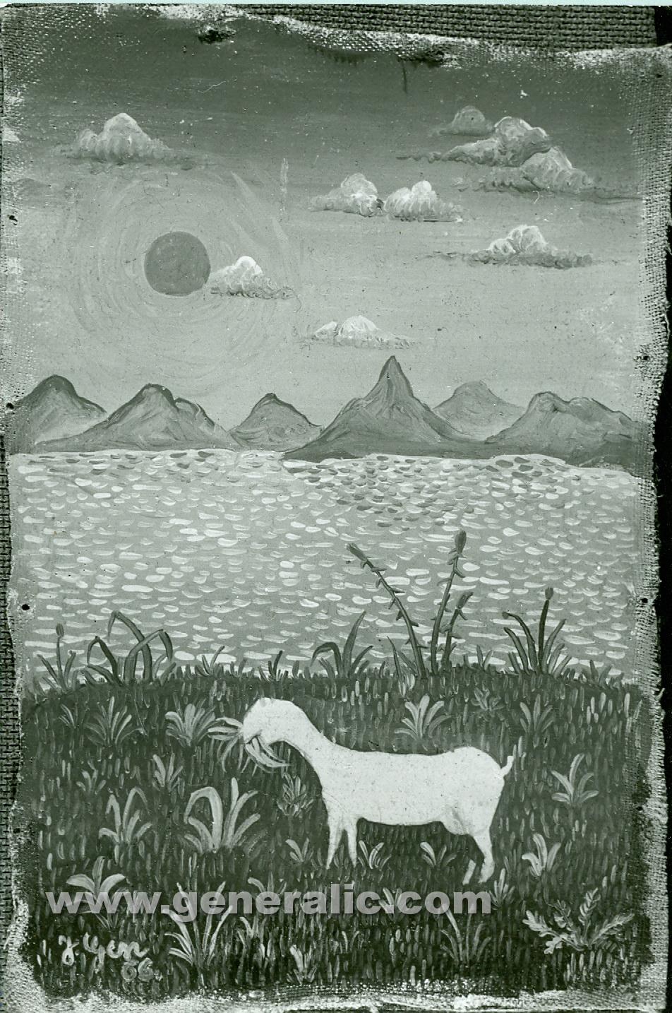 Josip Generalic, 1966, White goat, oil on canvas