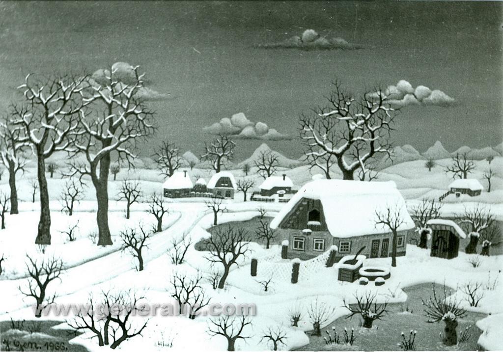 Josip Generalic, 1966, Winter in a small village, oil on glass