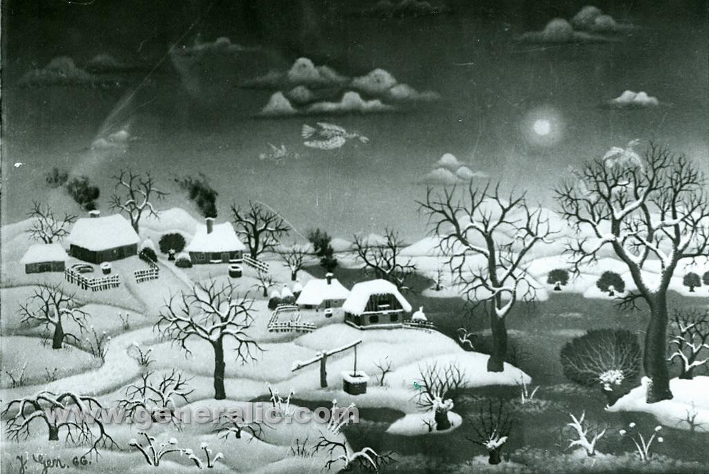 Josip Generalic, 1966, Winter in a village, oil on glass
