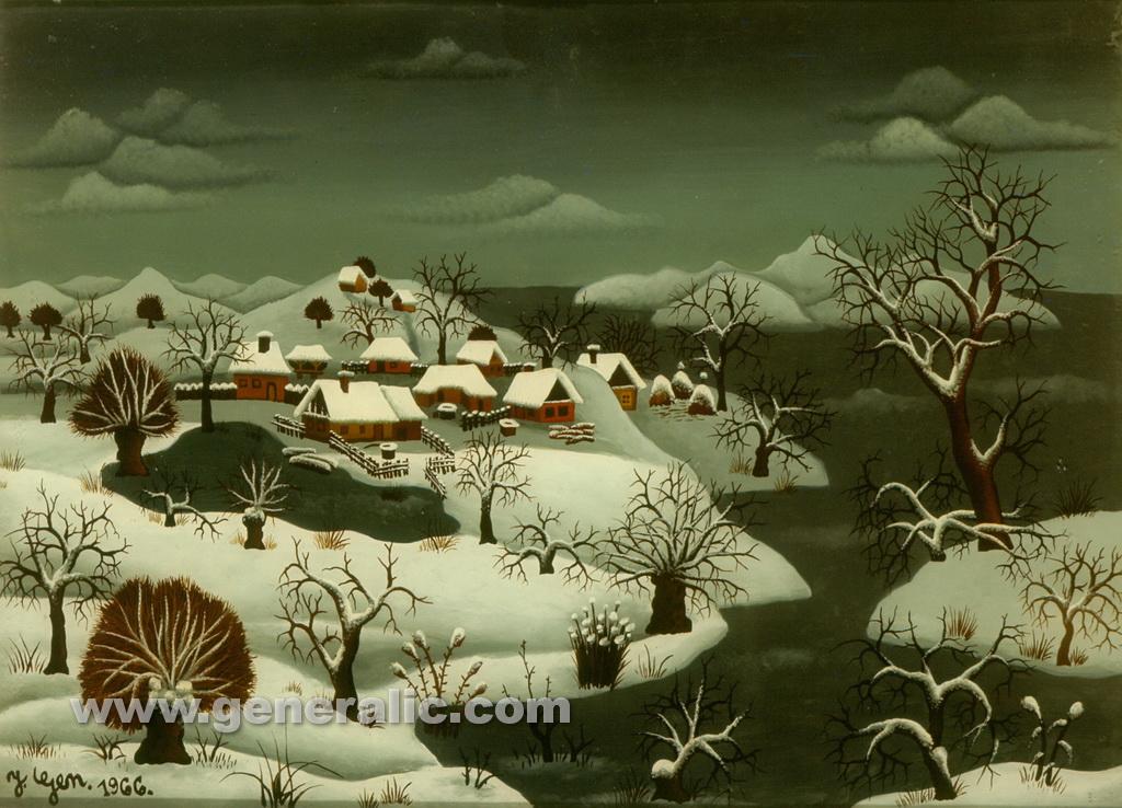 Josip Generalic, 1966, Winter landscape, oil on glass