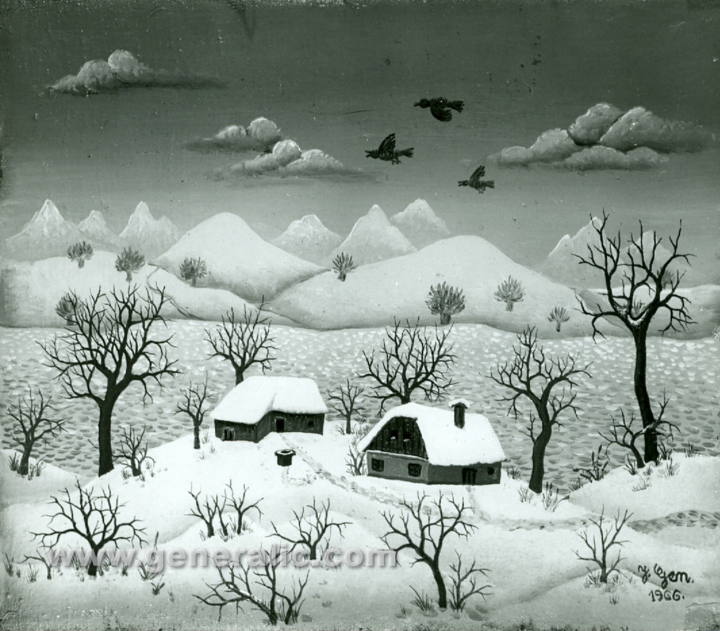 Josip Generalic, 1966, Winter with birds, oil on canvas
