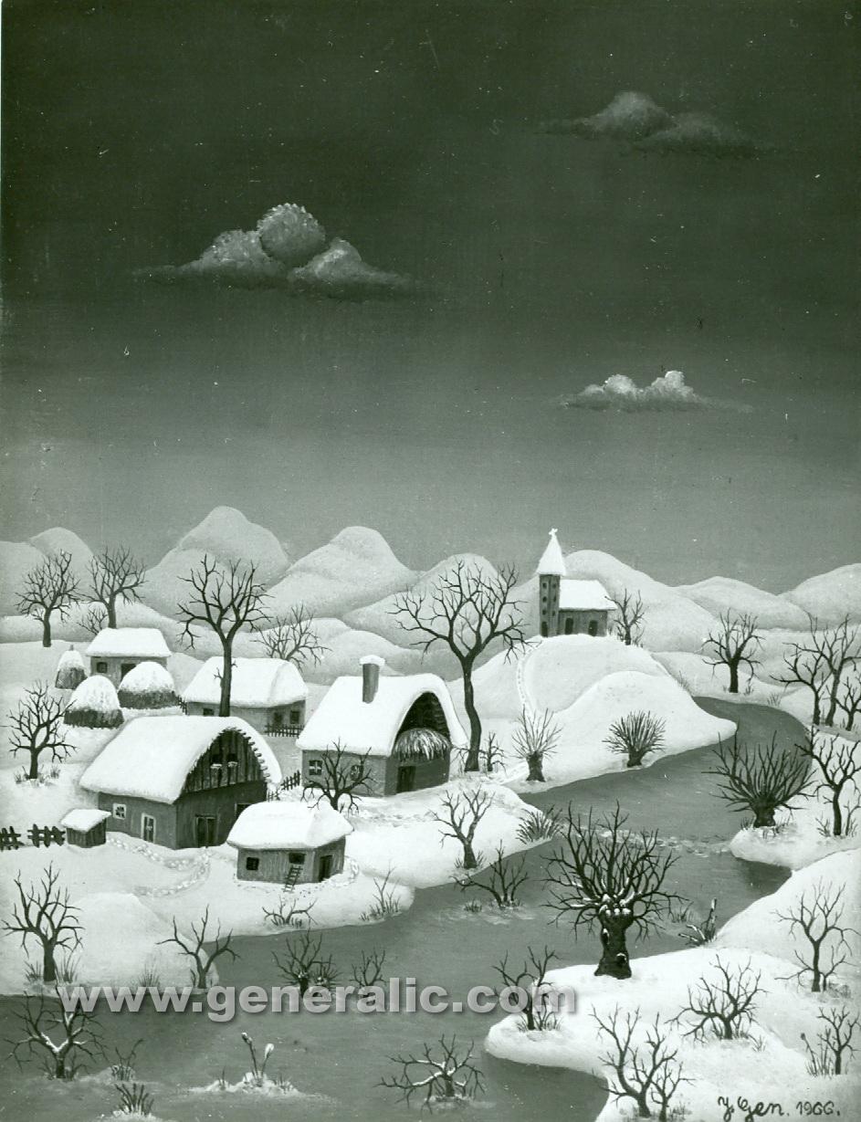 Josip Generalic, 1966, Winter with church, oil on canvas