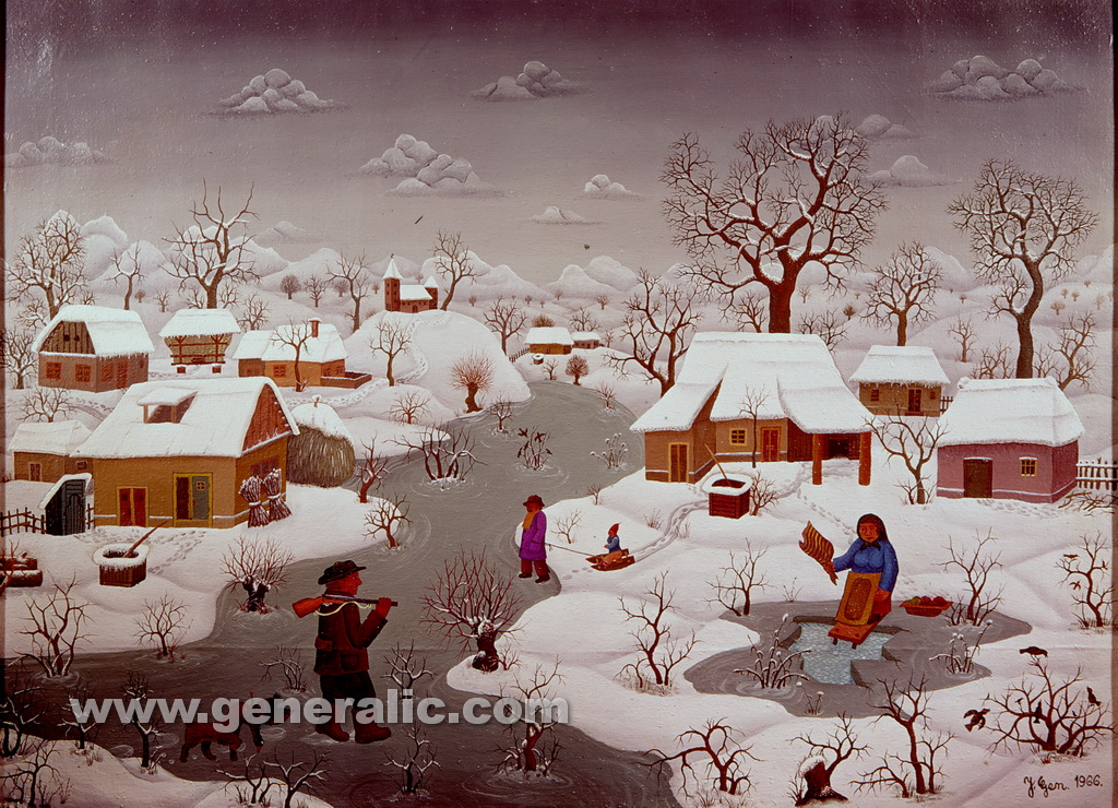 Josip Generalic, 1966, Winter with daily works, oil on canvas