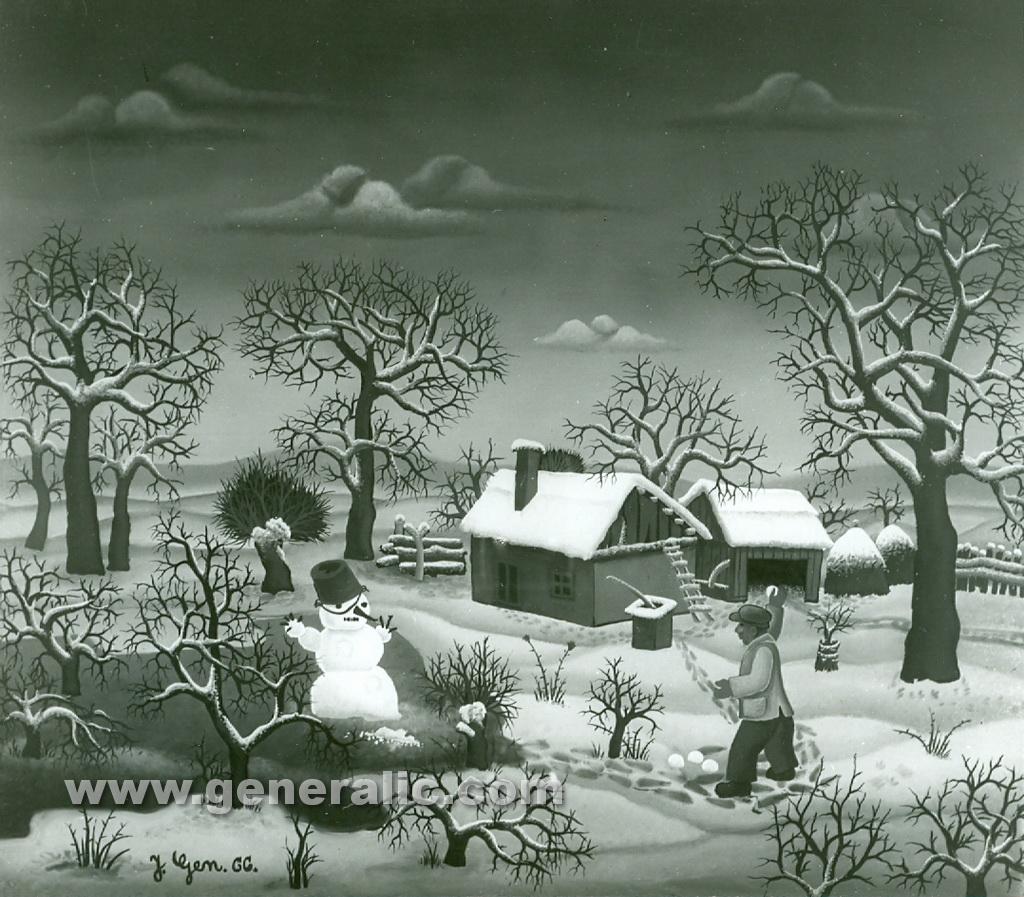 Josip Generalic, 1966, Winter with snowman, oil on canvas
