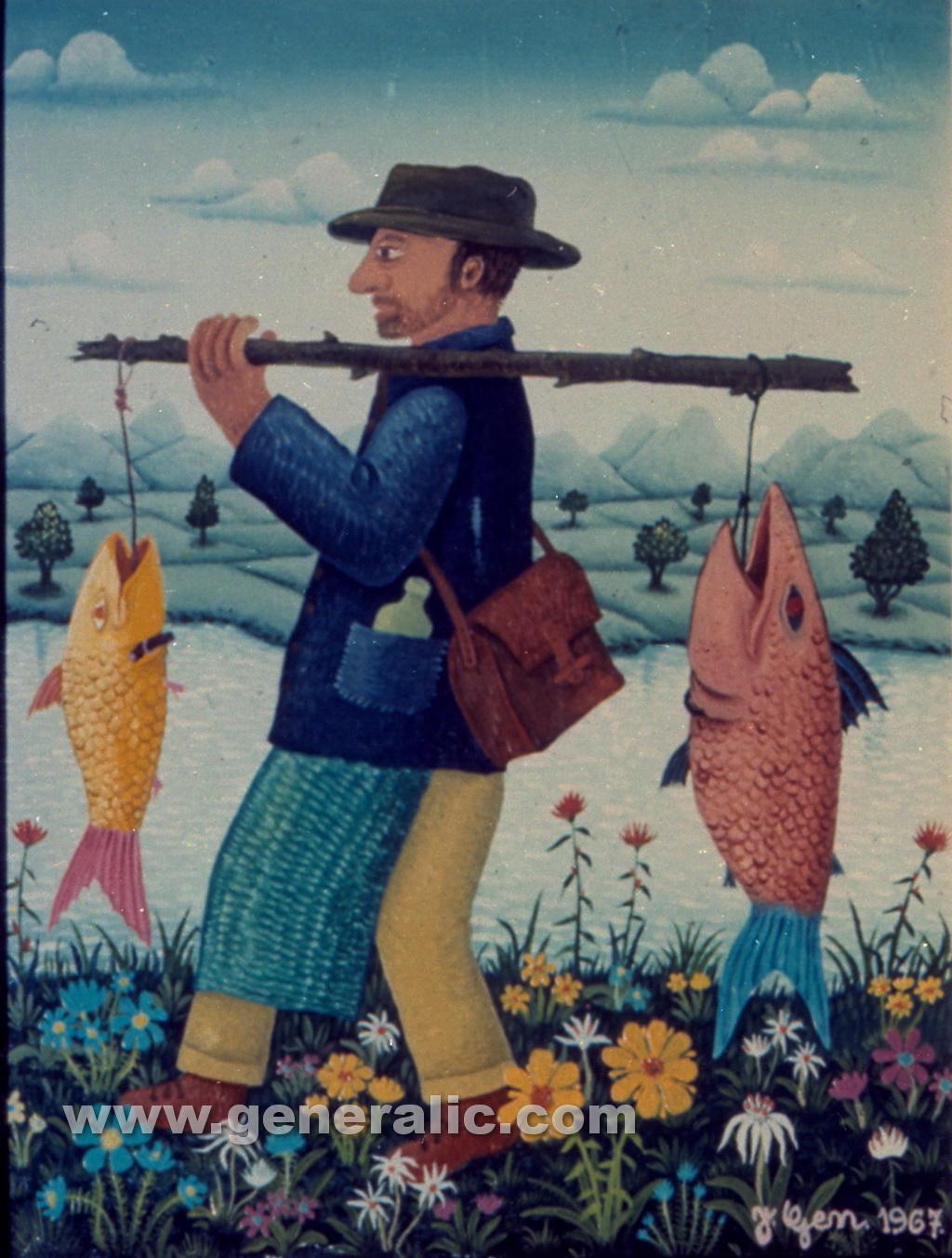 Josip Generalic, 1967, Fisherman, oil on canvas