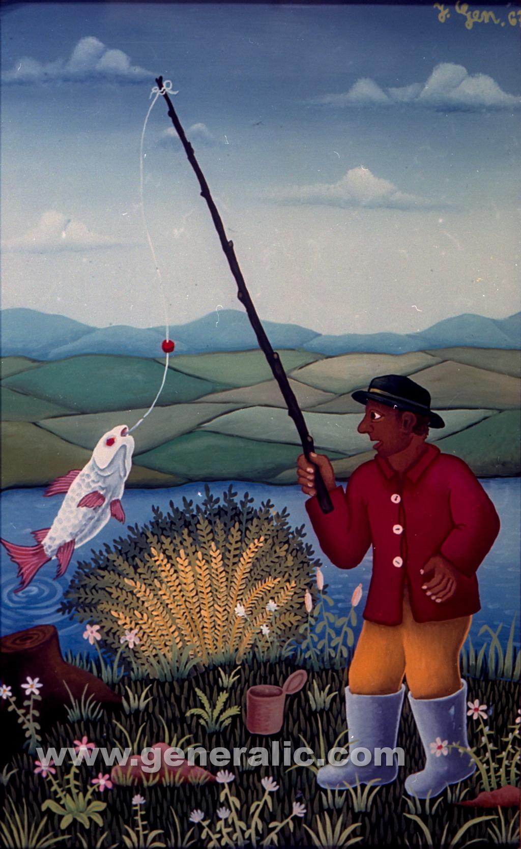 Josip Generalic, 1967, Fisherman, oil on glass