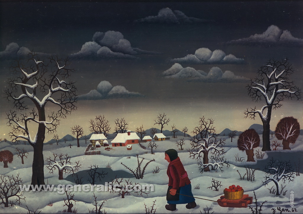 Josip Generalic, 1967, Winter with apples on a sledge, oil on glass
