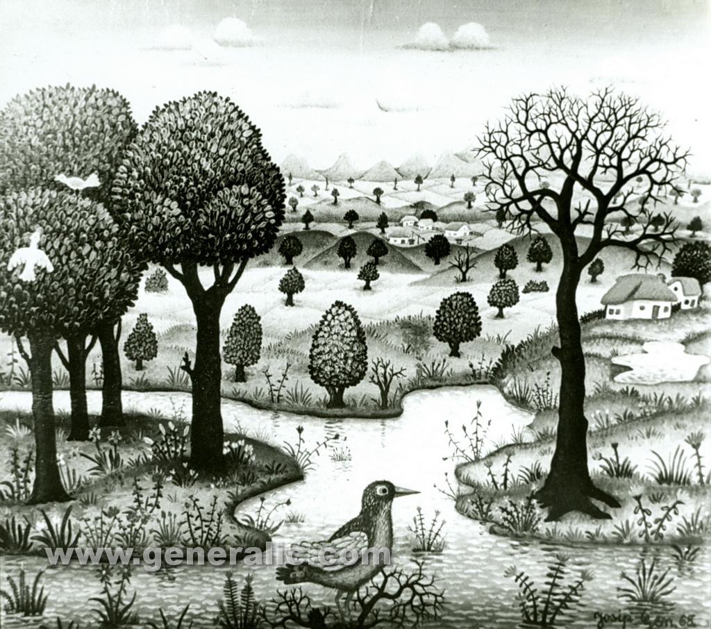 Josip Generalic, 1968, Bird by the river, oil on canvas