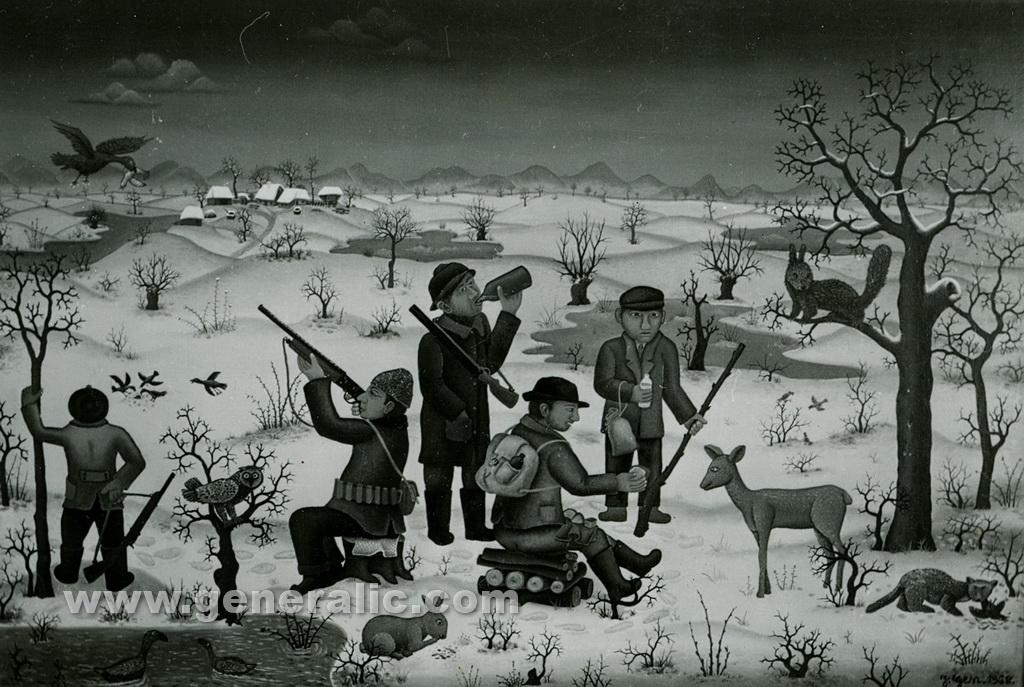 Josip Generalic, 1968, Hunters feeding a deer, oil on canvas