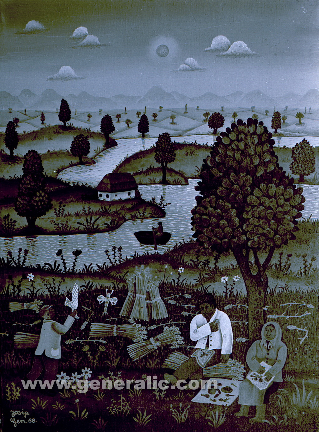 Josip Generalic, 1968, Lunch break, oil on canvas