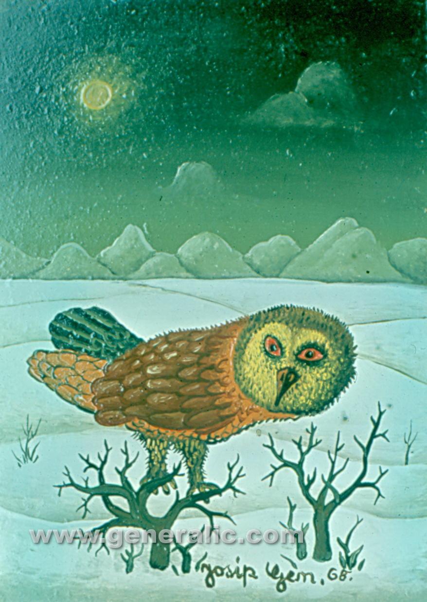Josip Generalic, 1968, Owl, oil on wood