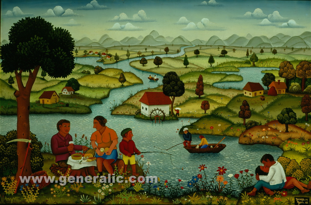 Josip Generalic, 1968, Picnic by the river, oil on canvas, 100x150 cm