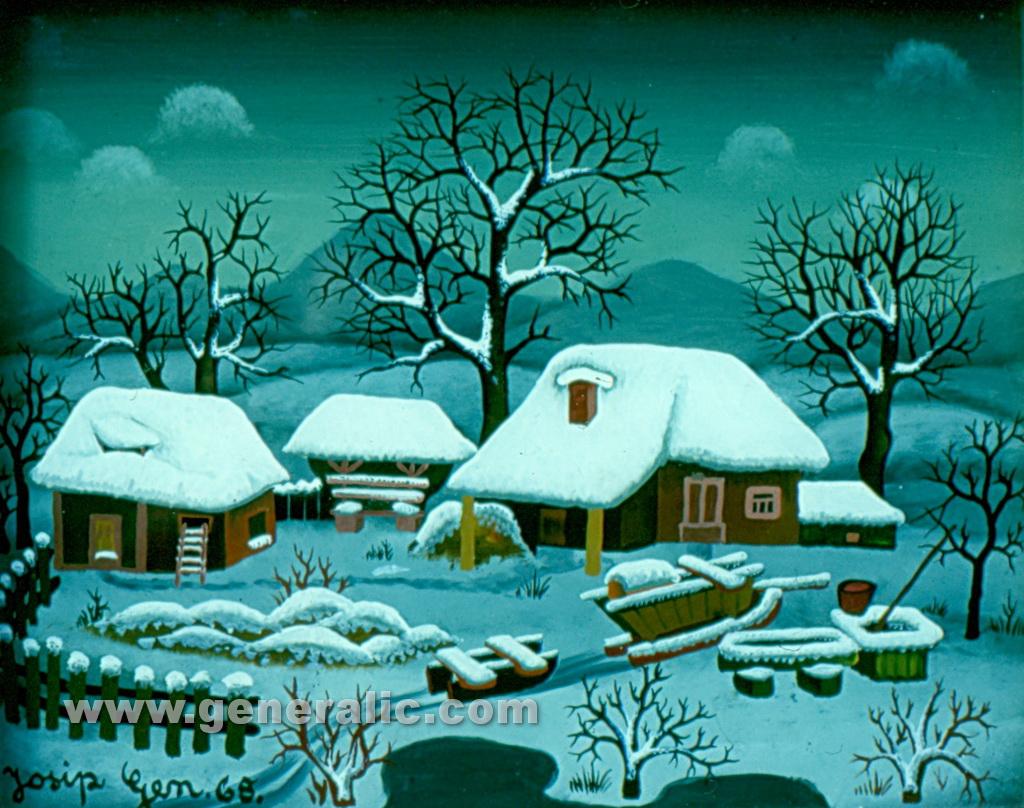 Josip Generalic, 1968, Winter, oil on glass