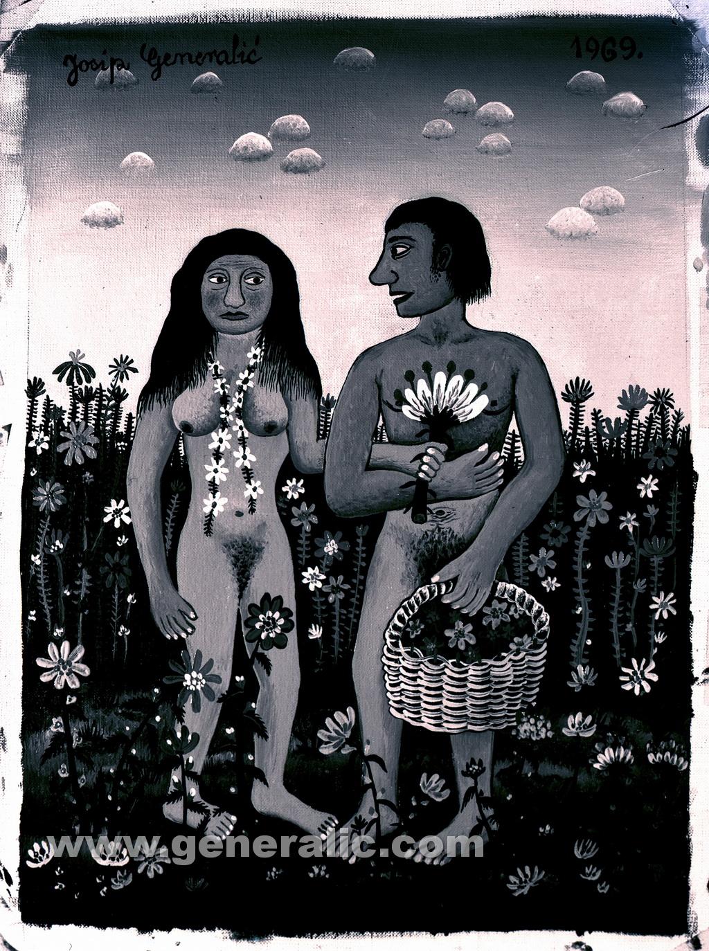Josip Generalic, 1969, Adam and Eve, oil on canvas