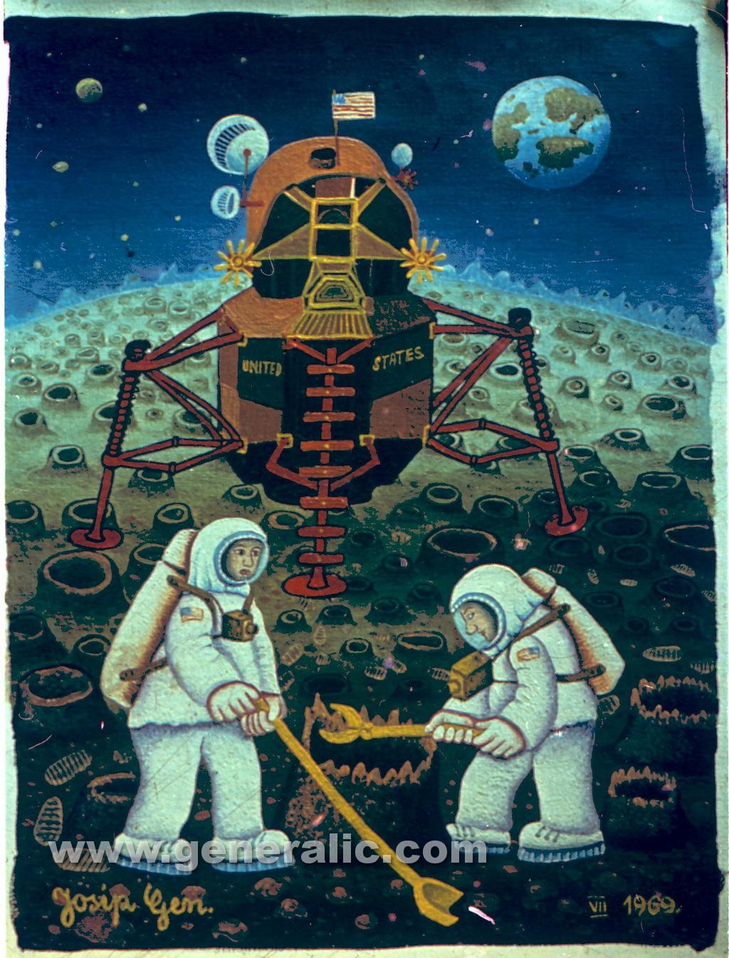 Josip Generalic, 1969, Americans on the Moon, oil on canvas