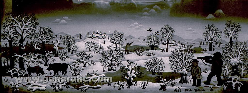 Josip Generalic, 1969, Boar hunter, oil on glass