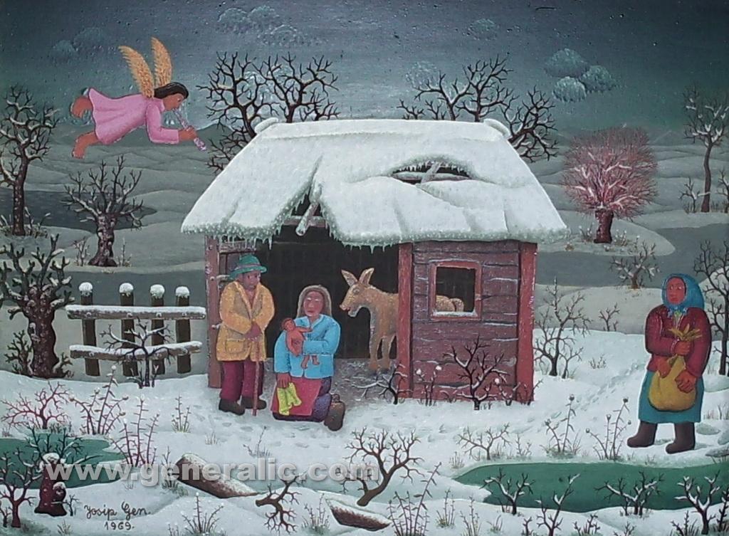 Josip Generalic, 1969, Christmas, oil on canvas