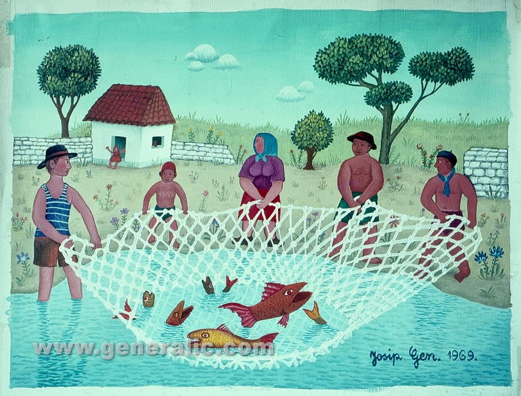 Josip Generalic, 1969, Fishing, oil on canvas