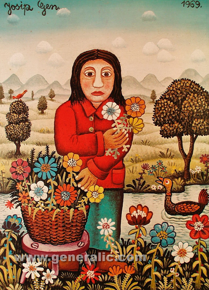 Josip Generalic, 1969, Florist, oil on canvas