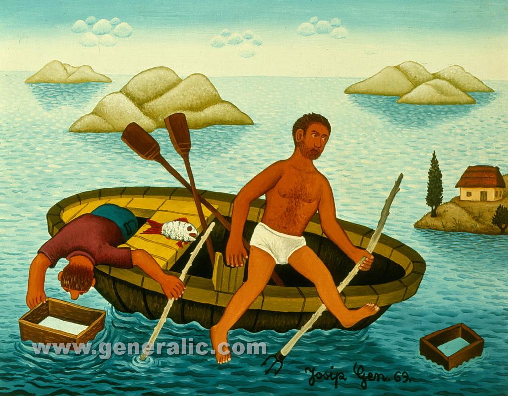Josip Generalic, 1969, Free dive fishing, oil on canvas