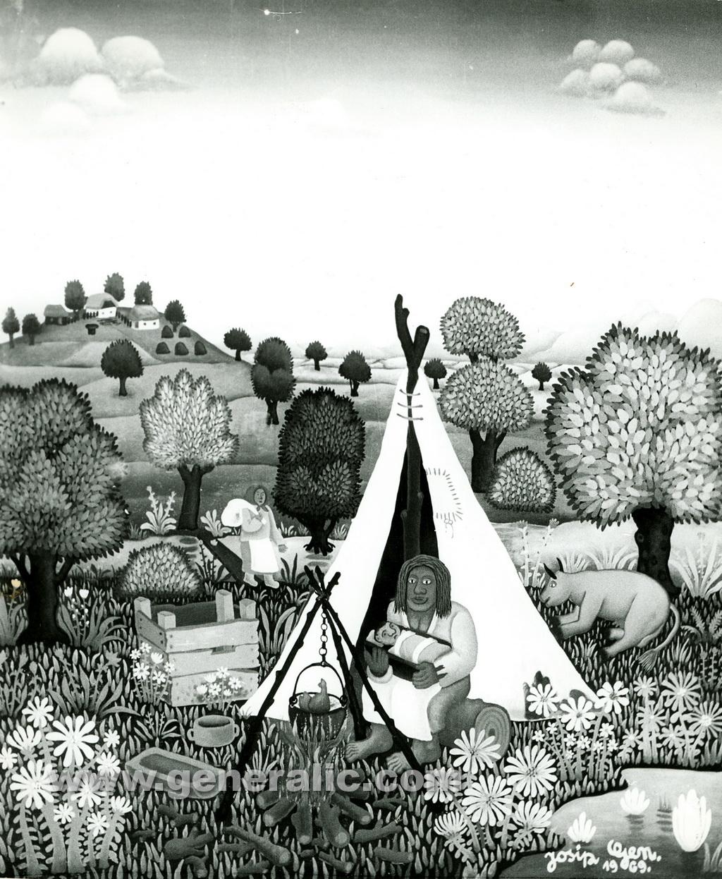 Josip Generalic, 1969, Gypsies, oil on glass