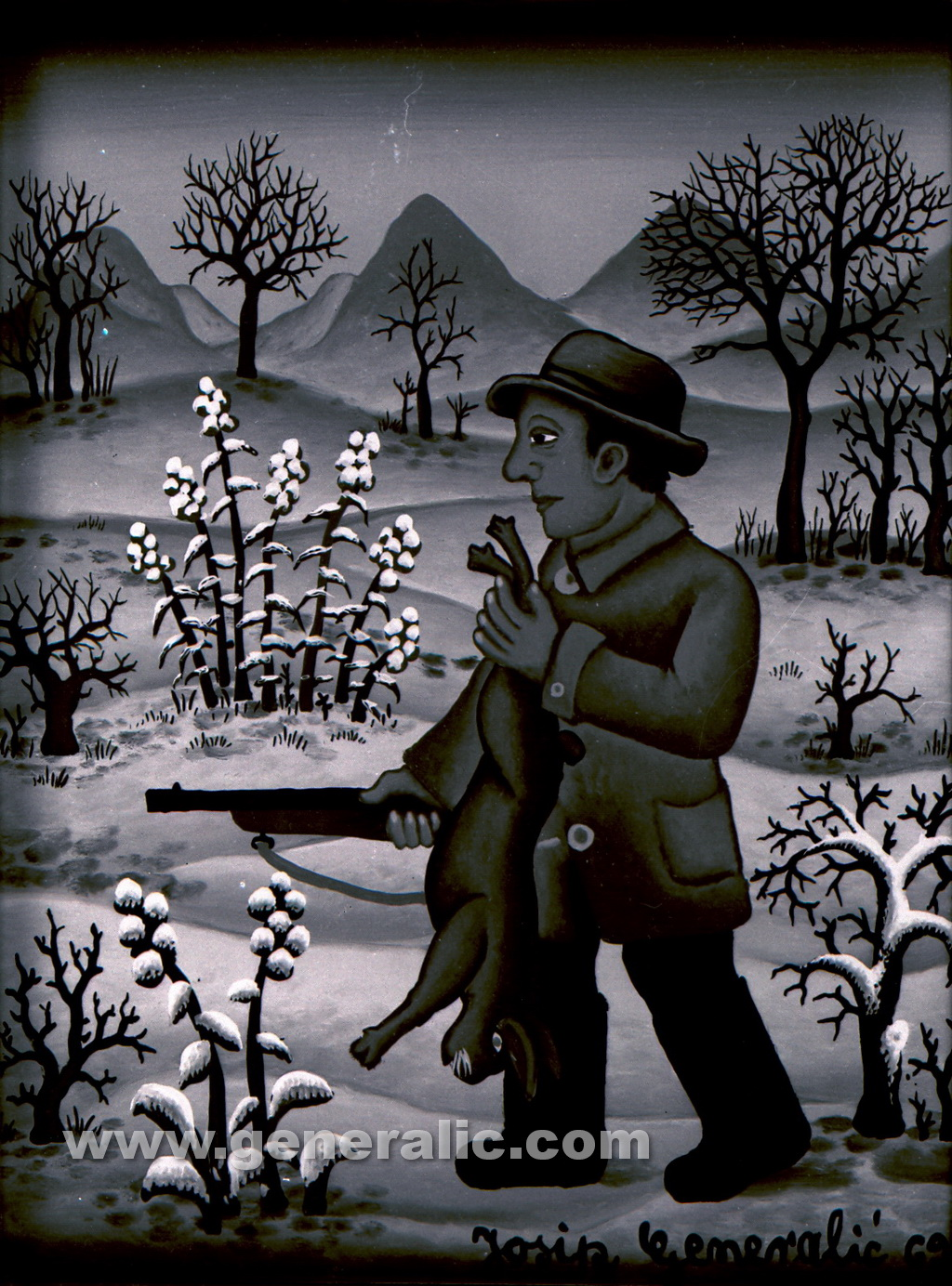 Josip Generalic, 1969, Hunter with a rabbit in winter, oil on glass