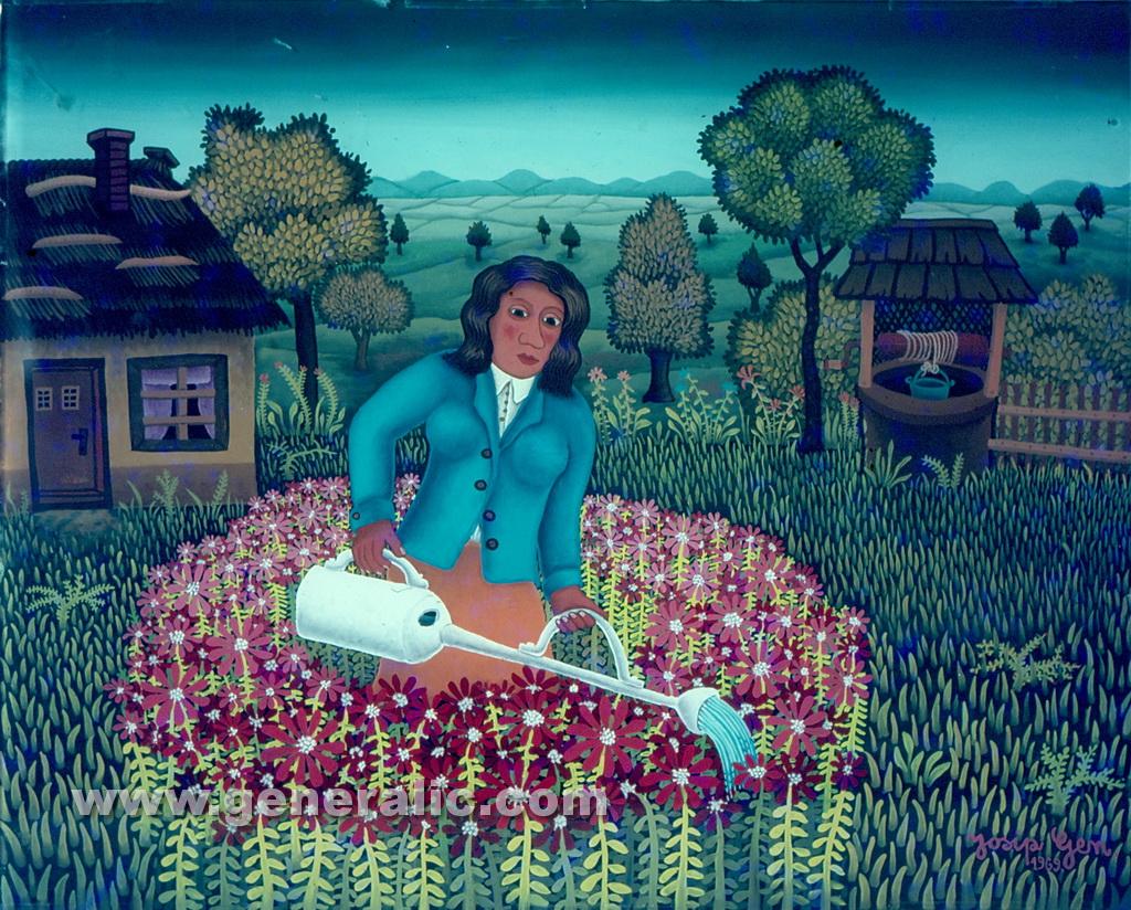 Josip Generalic, 1969, Mirjana is watering the flowers, oil on glass